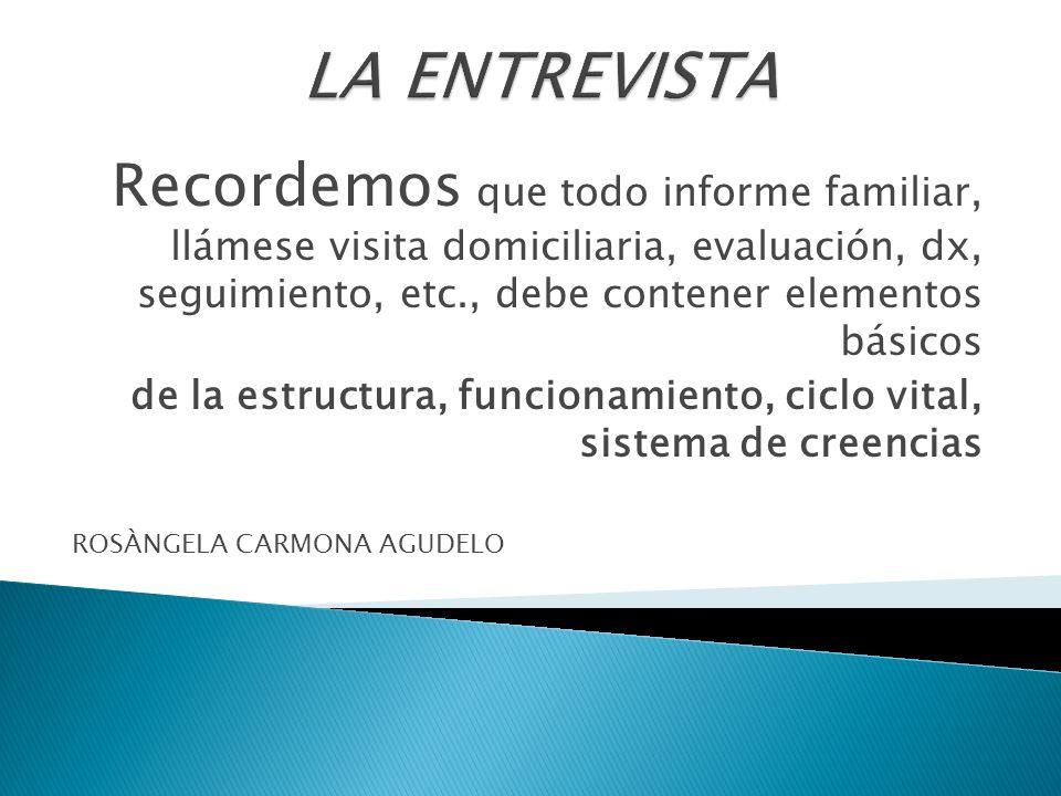 Recordemos que todo informe familiar, llámese visita domiciliaria, evaluación, dx, seguimiento, etc., debe contener elementos básicos de la estructura