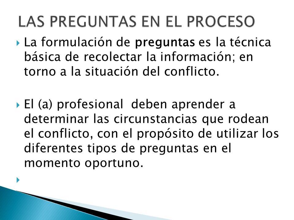 La formulación de preguntas es la técnica básica de recolectar la información; en torno a la situación del conflicto. El (a) profesional deben aprende