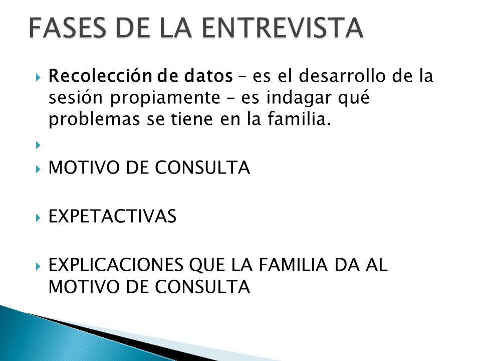 Recolección de datos – es el desarrollo de la sesión propiamente – es indagar qué problemas se tiene en la familia. MOTIVO DE CONSULTA EXPETACTIVAS EX