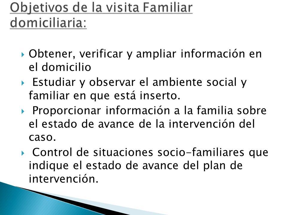 Obtener, verificar y ampliar información en el domicilio Estudiar y observar el ambiente social y familiar en que está inserto. Proporcionar informaci