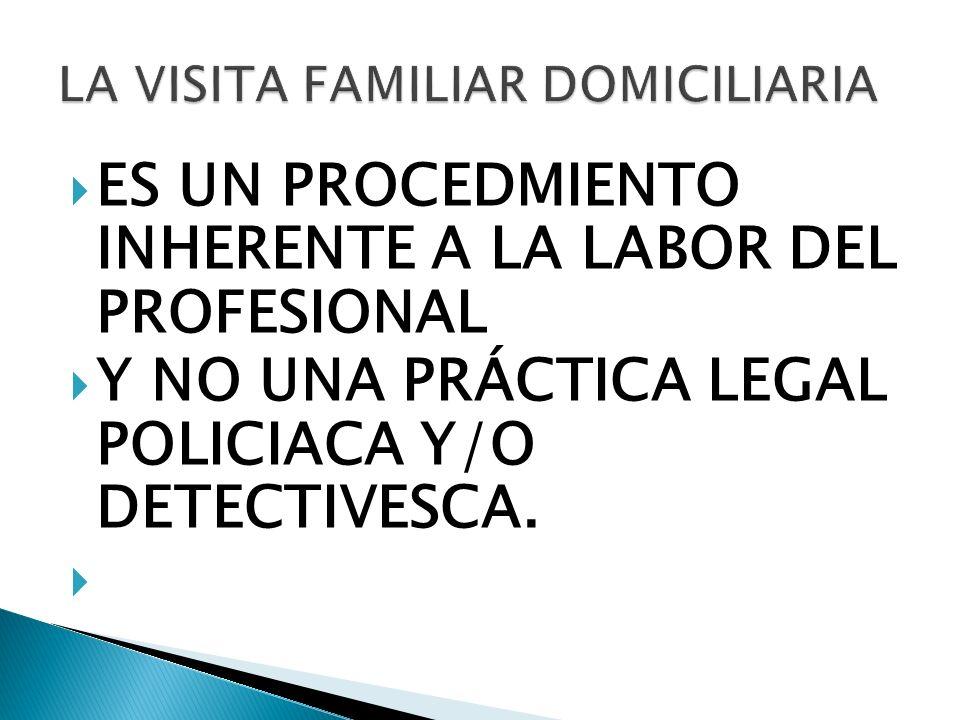 ES UN PROCEDMIENTO INHERENTE A LA LABOR DEL PROFESIONAL Y NO UNA PRÁCTICA LEGAL POLICIACA Y/O DETECTIVESCA.