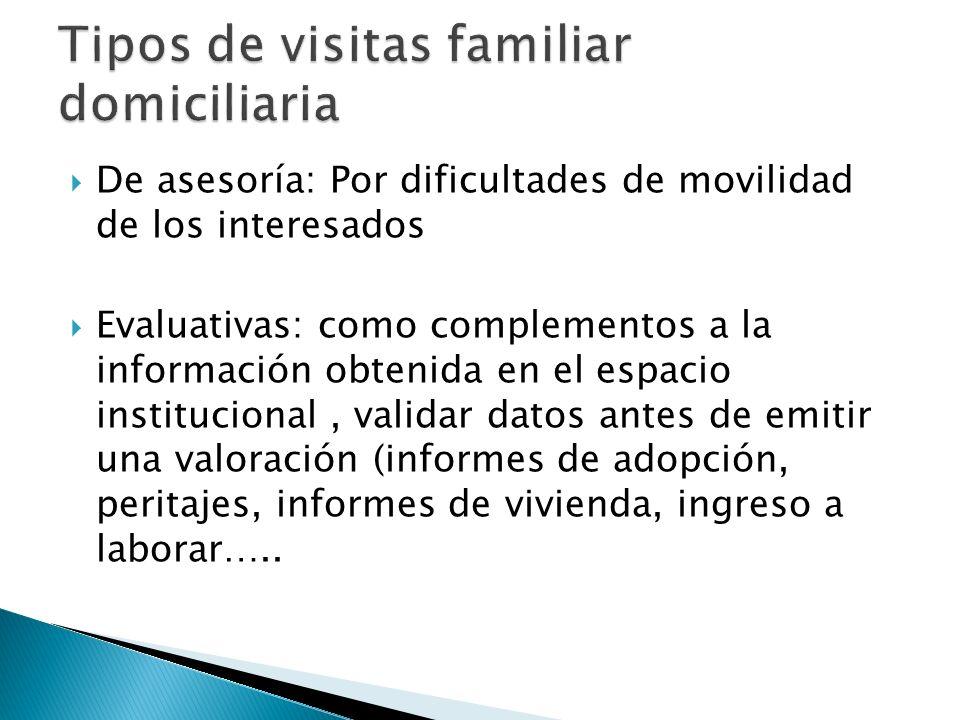 De asesoría: Por dificultades de movilidad de los interesados Evaluativas: como complementos a la información obtenida en el espacio institucional, va
