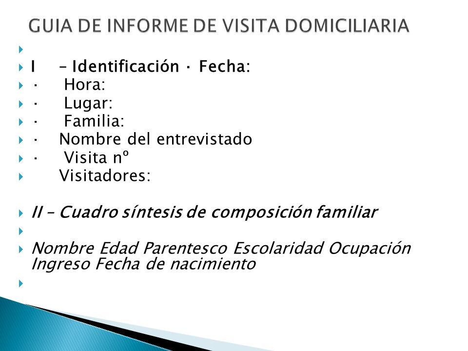 I – Identificación · Fecha: · Hora: · Lugar: · Familia: · Nombre del entrevistado · Visita nº Visitadores: II – Cuadro síntesis de composición familia