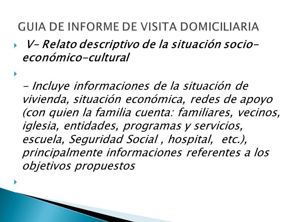 V– Relato descriptivo de la situación socio- económico-cultural - Incluye informaciones de la situación de vivienda, situación económica, redes de apo