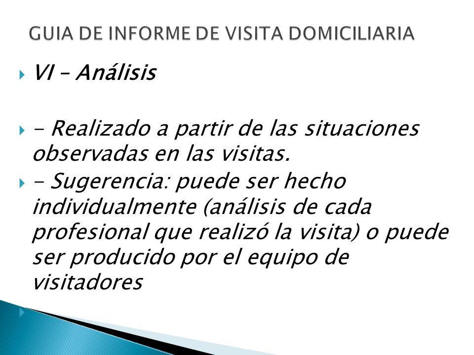 VI – Análisis - Realizado a partir de las situaciones observadas en las visitas. - Sugerencia: puede ser hecho individualmente (análisis de cada profe