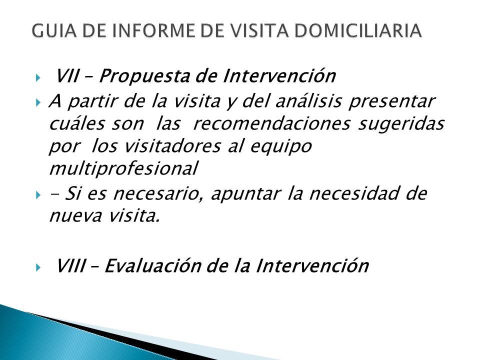 VII – Propuesta de Intervención A partir de la visita y del análisis presentar cuáles son las recomendaciones sugeridas por los visitadores al equipo