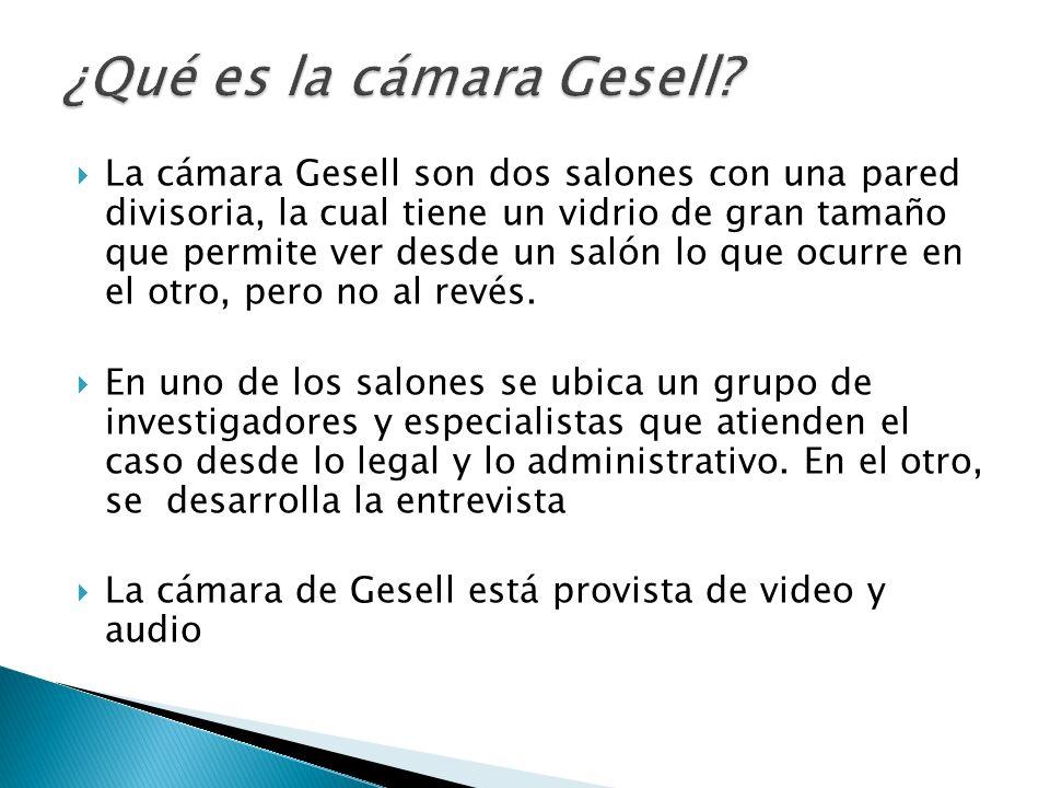 La cámara Gesell son dos salones con una pared divisoria, la cual tiene un vidrio de gran tamaño que permite ver desde un salón lo que ocurre en el ot