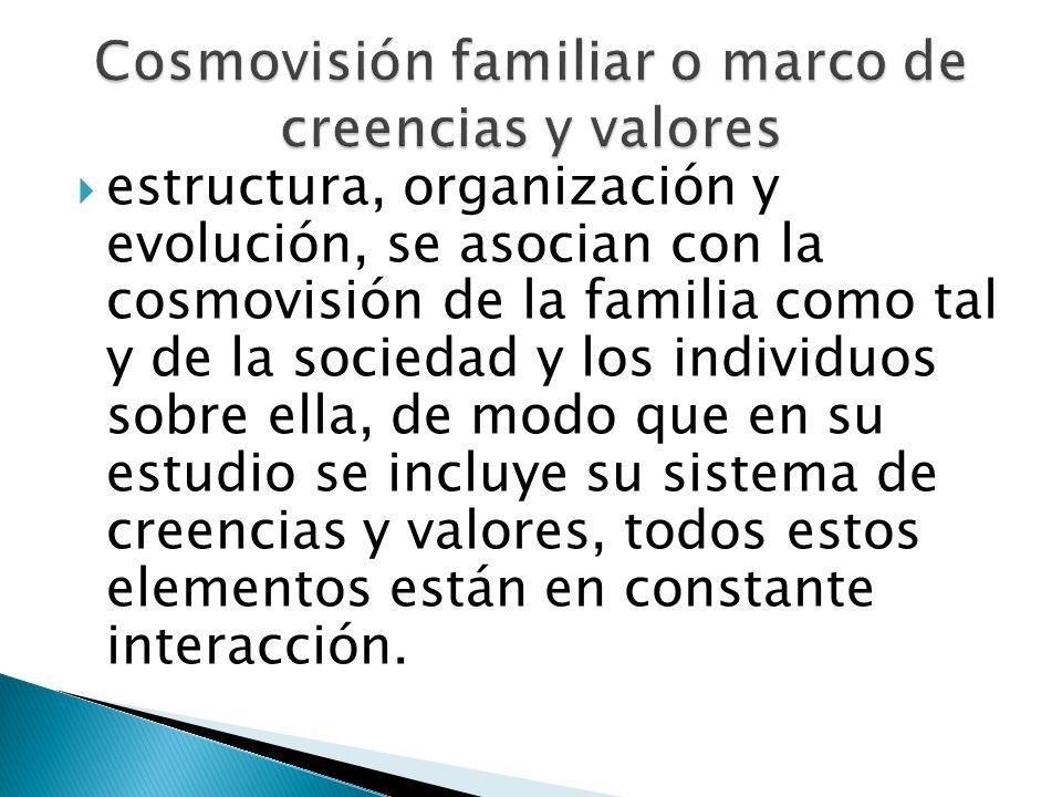 estructura, organización y evolución, se asocian con la cosmovisión de la familia como tal y de la sociedad y los individuos sobre ella, de modo que e