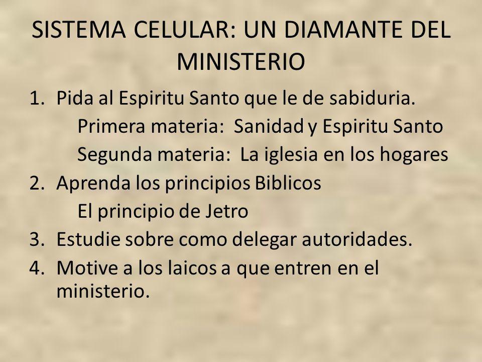 SISTEMA CELULAR: UN DIAMANTE DEL MINISTERIO 1.Pida al Espiritu Santo que le de sabiduria. Primera materia: Sanidad y Espiritu Santo Segunda materia: L