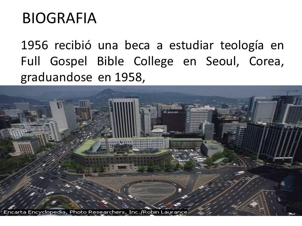 1956 recibió una beca a estudiar teología en Full Gospel Bible College en Seoul, Corea, graduandose en 1958, BIOGRAFIA