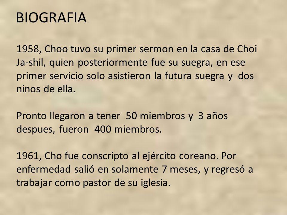 1958, Choo tuvo su primer sermon en la casa de Choi Ja-shil, quien posteriormente fue su suegra, en ese primer servicio solo asistieron la futura sueg