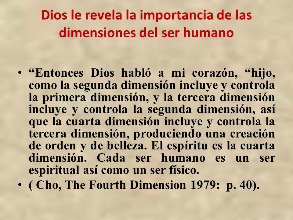 Dios le revela la importancia de las dimensiones del ser humano Entonces Dios habló a mi corazón, hijo, como la segunda dimensión incluye y controla l