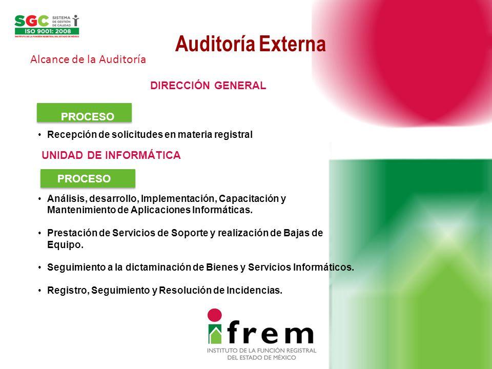 Auditoría Externa Alcance de la Auditoría DIRECCIÓN GENERAL PROCESO Recepción de solicitudes en materia registral Análisis, desarrollo, Implementación