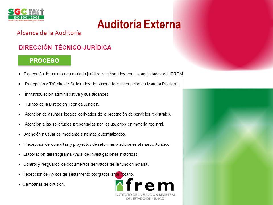 Auditoría Externa Alcance de la Auditoría DIRECCIÓN TÉCNICO-JURÍDICA PROCESO Recepción de asuntos en materia jurídica relacionados con las actividades