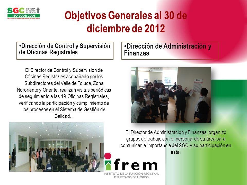 Objetivos Generales al 30 de diciembre de 2012 Dirección de Control y Supervisión de Oficinas Registrales Dirección de Administración y Finanzas El Di