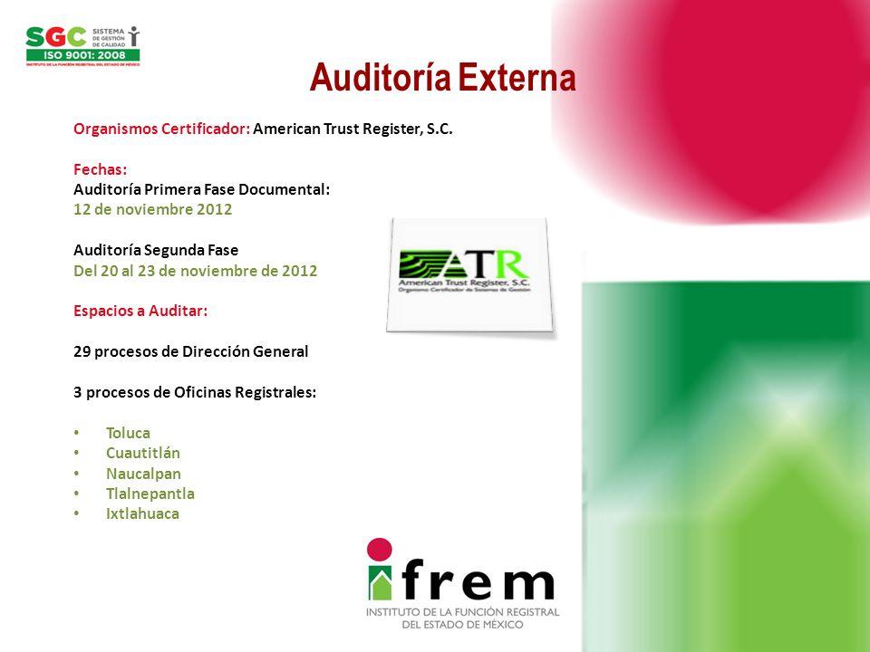 Auditoría Externa Organismos Certificador: American Trust Register, S.C. Fechas: Auditoría Primera Fase Documental: 12 de noviembre 2012 Auditoría Seg