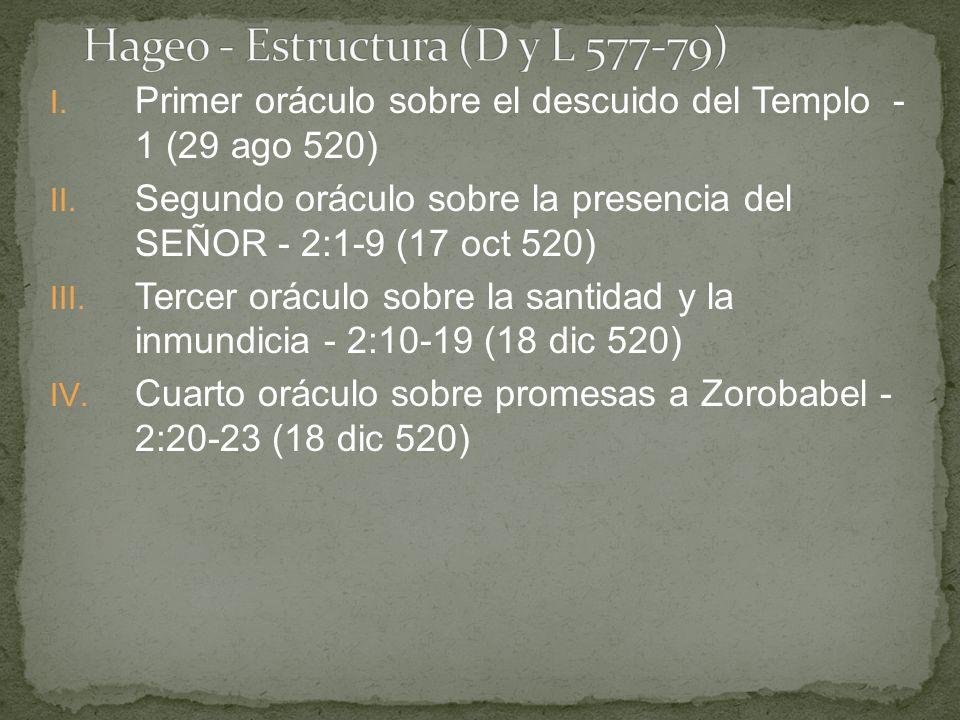 I. Primer oráculo sobre el descuido del Templo - 1 (29 ago 520) II. Segundo oráculo sobre la presencia del SEÑOR - 2:1-9 (17 oct 520) III. Tercer orác