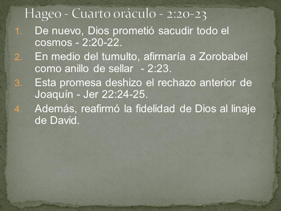 1. De nuevo, Dios prometió sacudir todo el cosmos - 2:20-22. 2. En medio del tumulto, afirmaría a Zorobabel como anillo de sellar - 2:23. 3. Esta prom