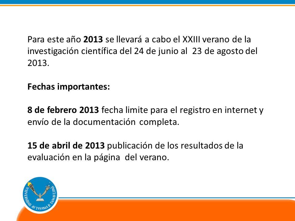 Para este año 2013 se llevará a cabo el XXIII verano de la investigación científica del 24 de junio al 23 de agosto del 2013.