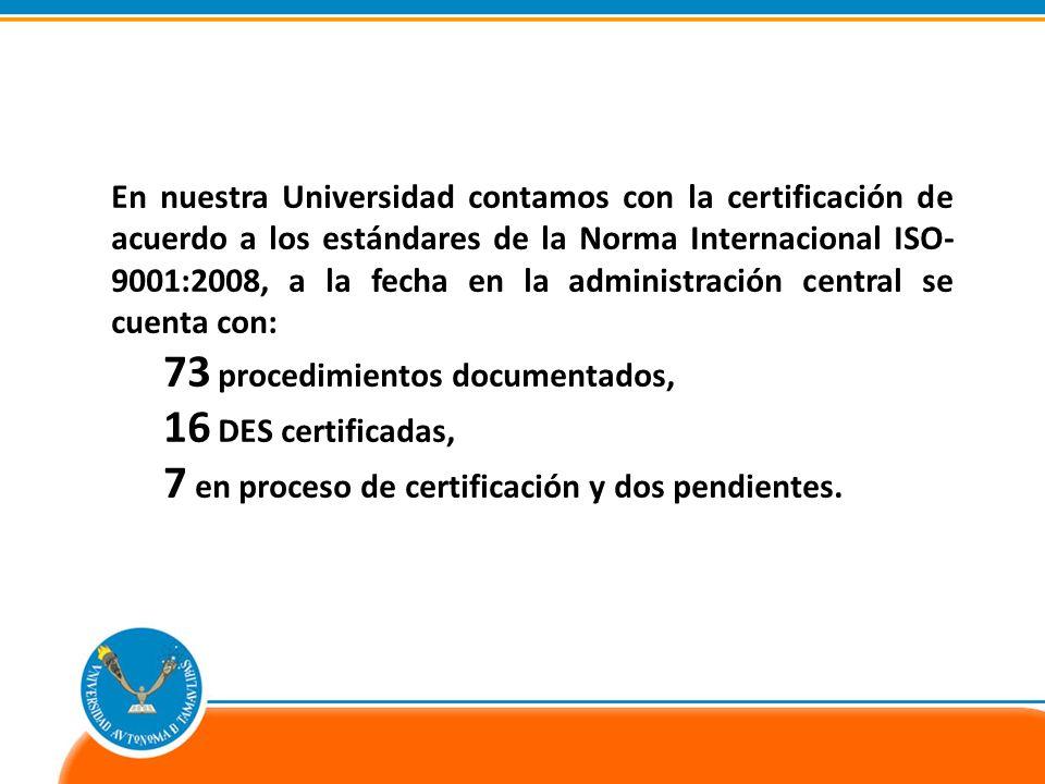 En nuestra Universidad contamos con la certificación de acuerdo a los estándares de la Norma Internacional ISO- 9001:2008, a la fecha en la administración central se cuenta con: 73 procedimientos documentados, 16 DES certificadas, 7 en proceso de certificación y dos pendientes.