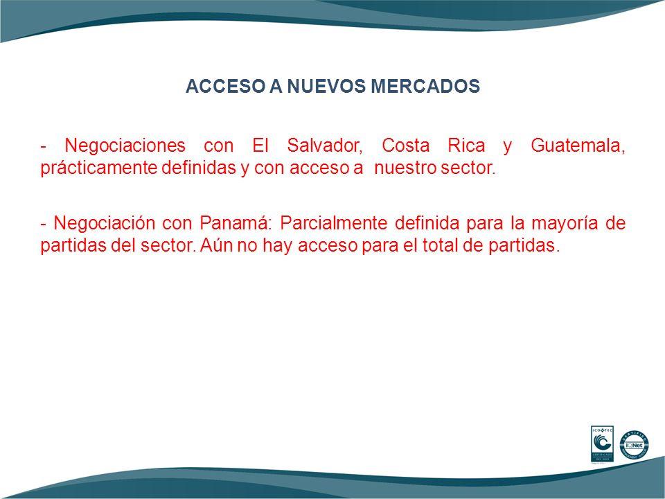 ACCESO A NUEVOS MERCADOS - Negociaciones con El Salvador, Costa Rica y Guatemala, prácticamente definidas y con acceso a nuestro sector. - Negociación