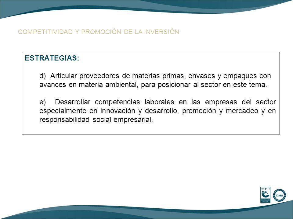 COMPETITIVIDAD Y PROMOCIÓN DE LA INVERSIÓN ESTRATEGIAS: d)Articular proveedores de materias primas, envases y empaques con avances en materia ambienta