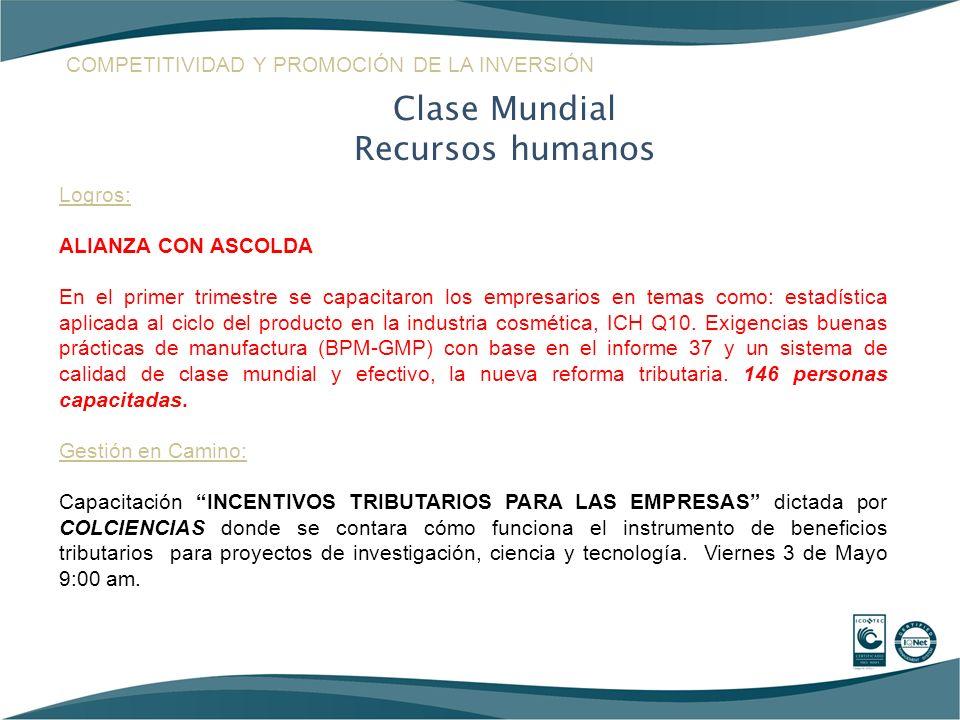 Clase Mundial Recursos humanos Logros: ALIANZA CON ASCOLDA En el primer trimestre se capacitaron los empresarios en temas como: estadística aplicada a
