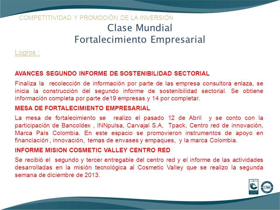 Logros : AVANCES SEGUNDO INFORME DE SOSTENIBILIDAD SECTORIAL Finaliza la recolección de información por parte de las empresa consultora enlaza, se ini