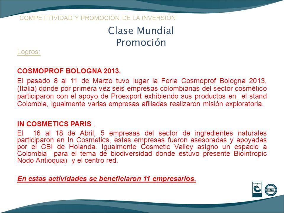 Logros: COSMOPROF BOLOGNA 2013. El pasado 8 al 11 de Marzo tuvo lugar la Feria Cosmoprof Bologna 2013, (Italia) donde por primera vez seis empresas co