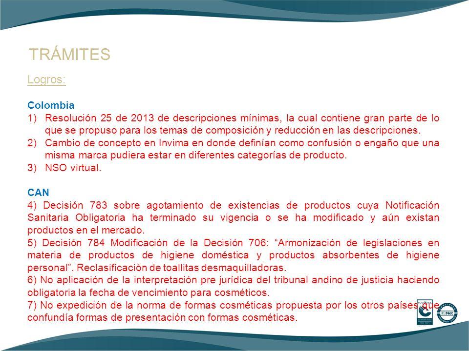 TRÁMITES Logros: Colombia 1)Resolución 25 de 2013 de descripciones mínimas, la cual contiene gran parte de lo que se propuso para los temas de composi