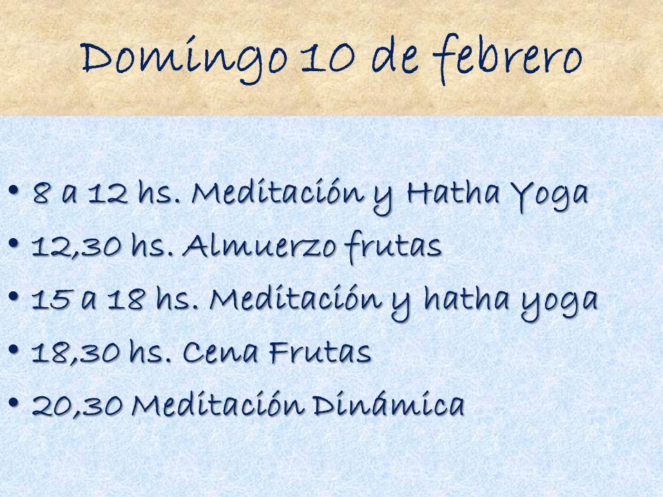 Domingo 10 de febrero 8 a 12 hs. Meditación y Hatha Yoga 8 a 12 hs. Meditación y Hatha Yoga 12,30 hs. Almuerzo frutas 12,30 hs. Almuerzo frutas 15 a 1