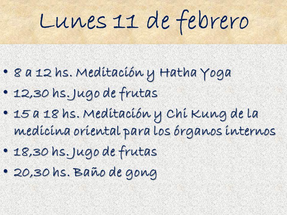 Lunes 11 de febrero 8 a 12 hs. Meditación y Hatha Yoga 8 a 12 hs. Meditación y Hatha Yoga 12,30 hs. Jugo de frutas 12,30 hs. Jugo de frutas 15 a 18 hs