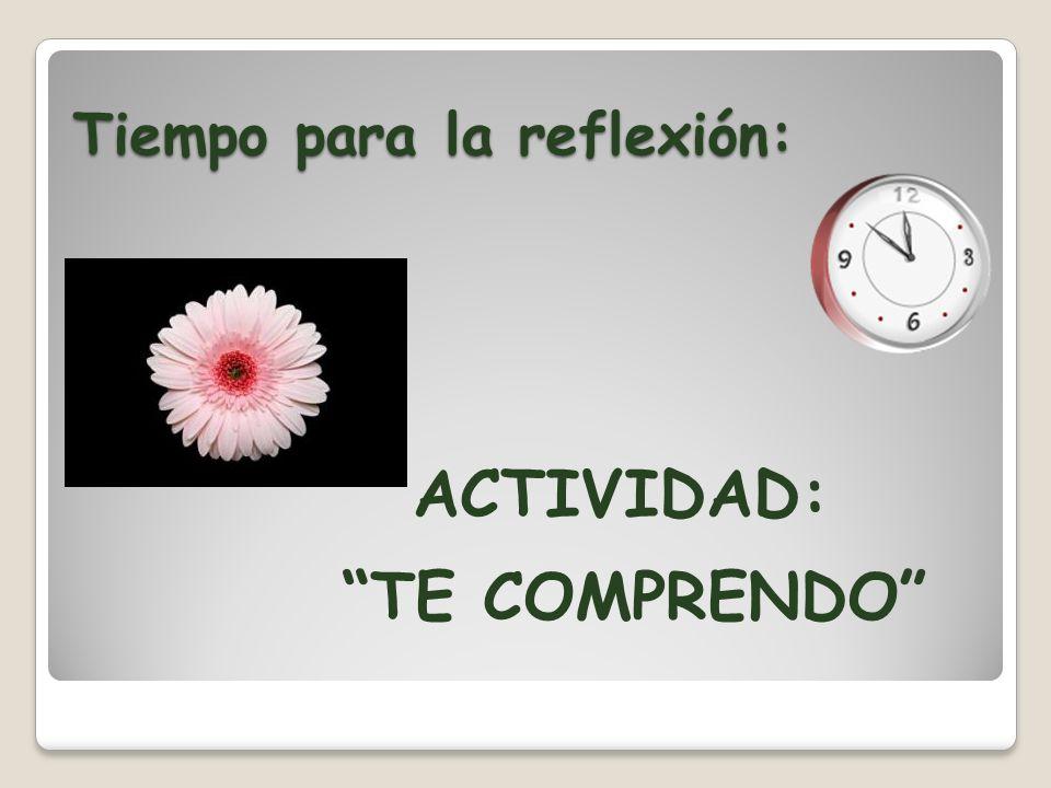 Tiempo para la reflexión: ACTIVIDAD: TE COMPRENDO