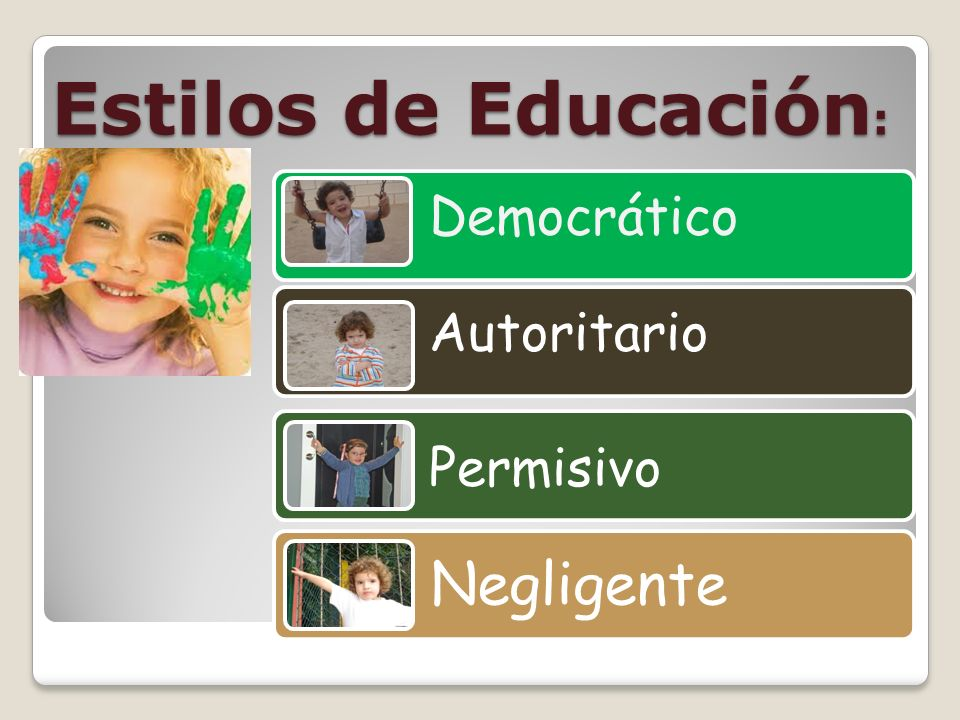 Estilos de Educación AFECTO Y COMUNICACIÓN CONTROL Y DISCIPLINA ALTOBAJO ALTO DemocráticoAutoritario BAJO PermisivoNegligente