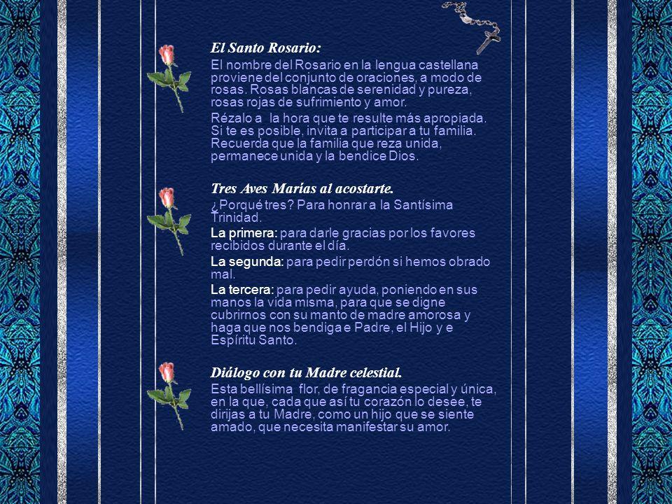 El Santo Rosario: El nombre del Rosario en la lengua castellana proviene del conjunto de oraciones, a modo de rosas.