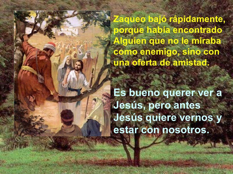 Jesús miró a Zaqueo, como nos mira a todos, con simpatía y con una especie de encanto seductor. En esa mirada no hay exigencia ni corrección, sólo una
