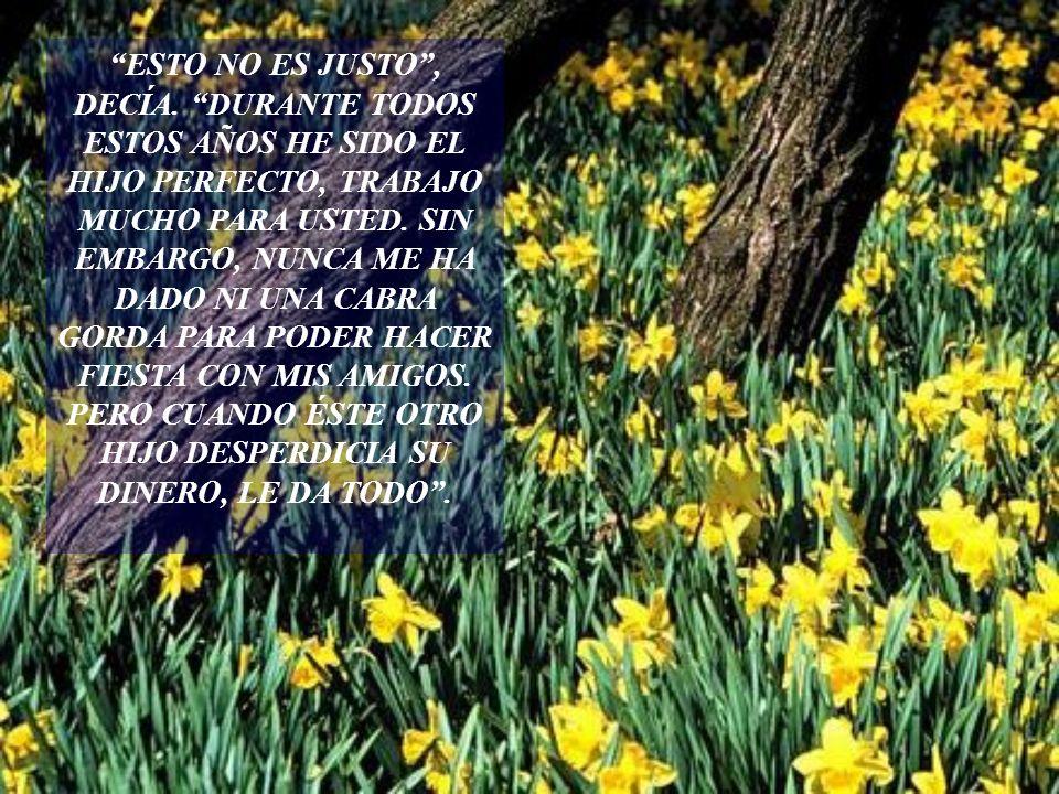 EL HIJO MENOR LLORABA DE ALEGRÍA AL VER CUANTO LO AMABA SU PADRE. SE SENTÍA MUY ALIVIADO. ESE MISMO DÍA, HUBO UNA GRAN FIESTA. TODOS LOS EMPLEADOS Y A