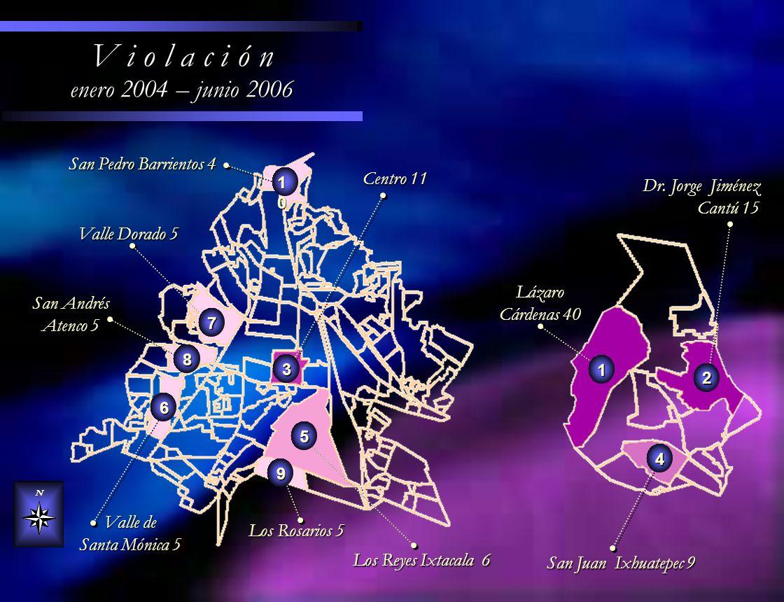 Los Reyes Ixtacala 6 Los Reyes Ixtacala 6 Valle Dorado 5 Centro 11 Centro 11 N V i o l a c i ó n enero 2004 – junio 2006 Valle de Santa Mónica 5 Lázar
