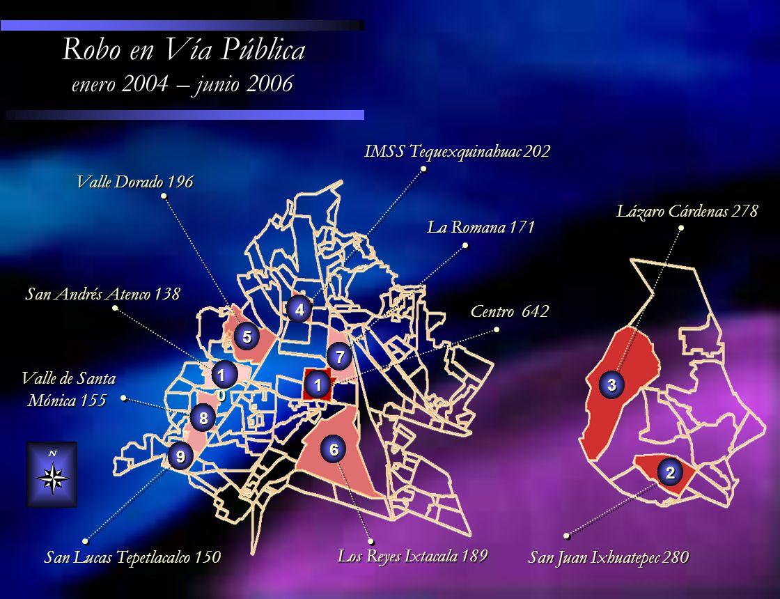 Centro 642 Valle Dorado 196 La Romana 171 La Romana 171 IMSS Tequexquinahuac 202 IMSS Tequexquinahuac 202 Los Reyes Ixtacala 189 Valle de Santa Mónica