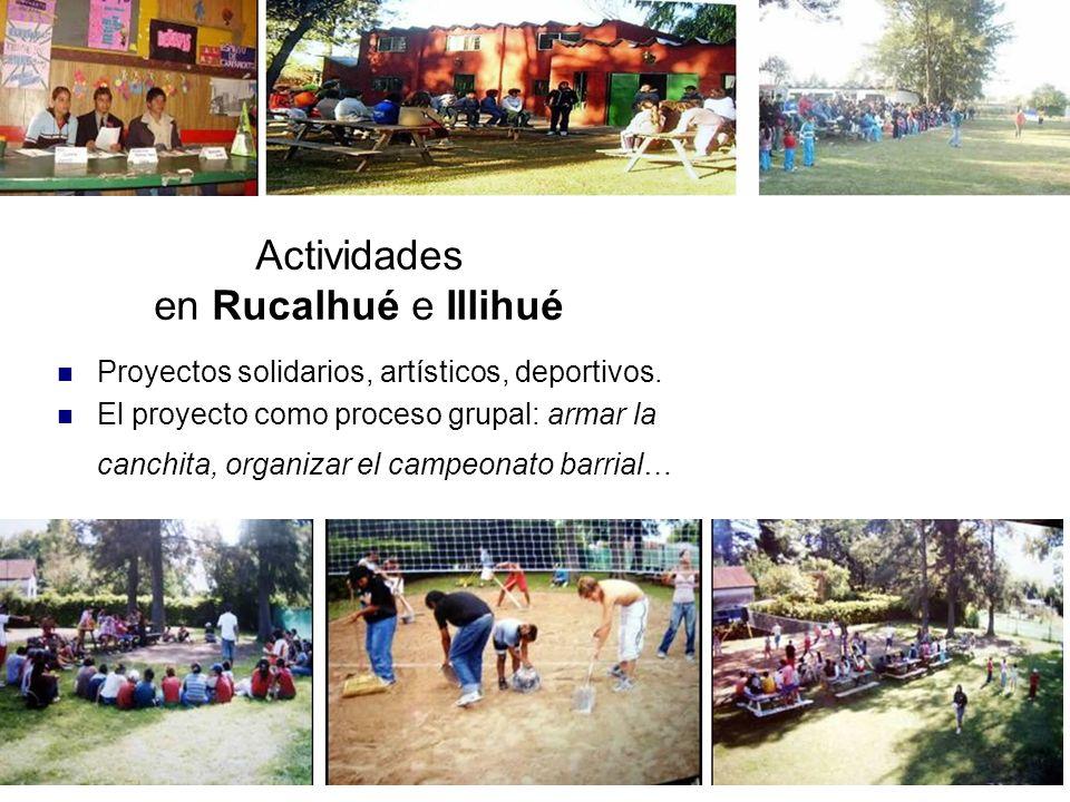 Actividades en Rucalhué e Illihué Proyectos solidarios, artísticos, deportivos.