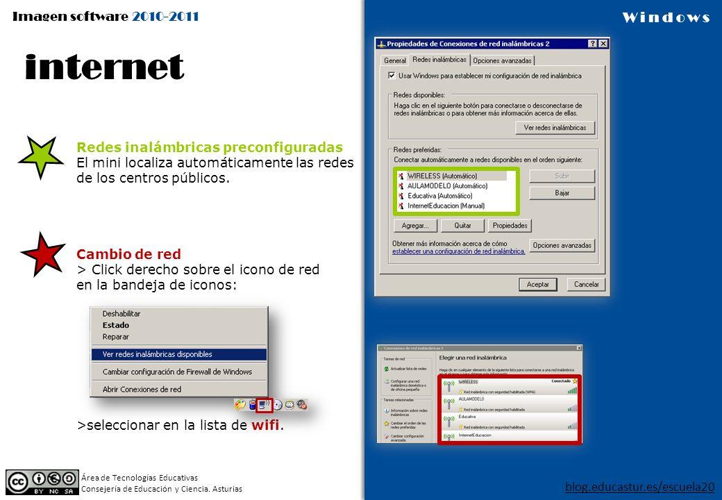Imagen software 2010-2011 blog.educastur.es/escuela20 Área de Tecnologías Educativas Consejería de Educación y Ciencia. Asturias Windows Cambio de red