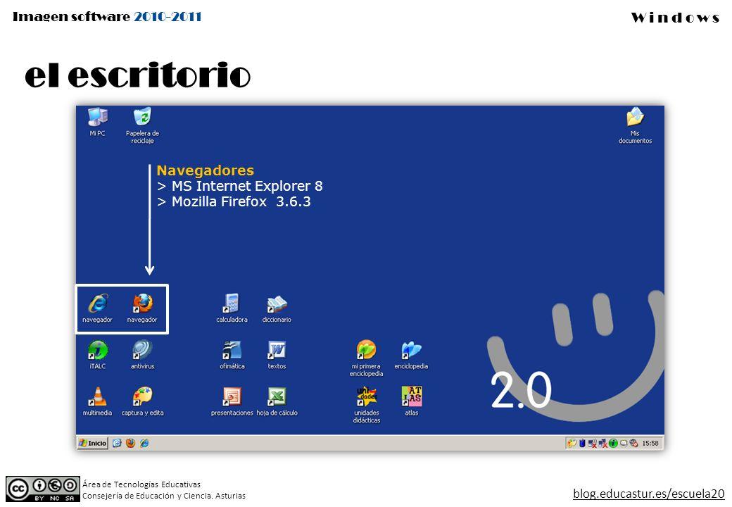 Imagen software 2010-2011 Windows Área de Tecnologías Educativas Consejería de Educación y Ciencia. Asturias blog.educastur.es/escuela20 el escritorio