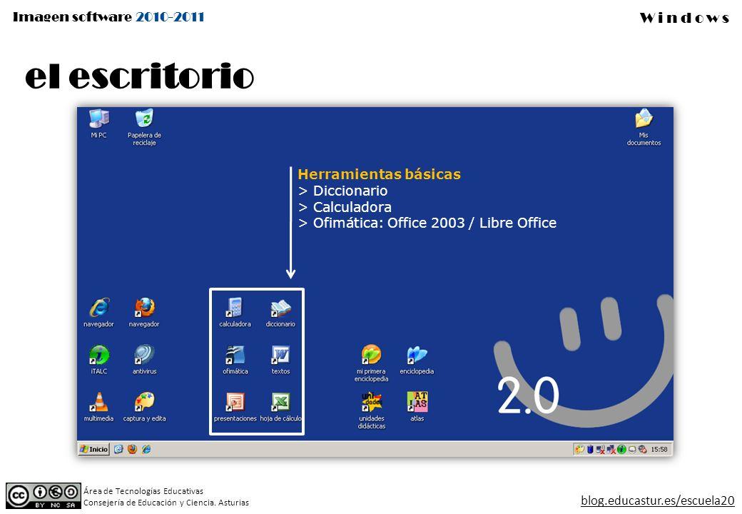 Imagen software 2010-2011 Windows Área de Tecnologías Educativas Consejería de Educación y Ciencia.