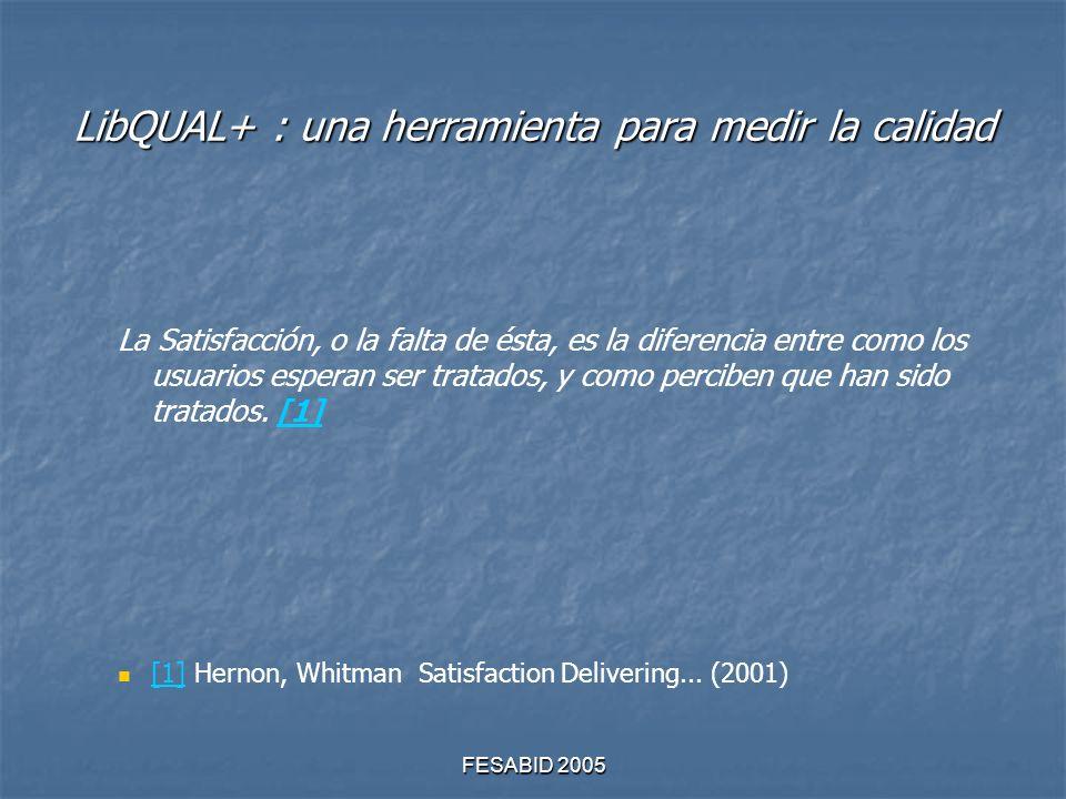 FESABID 2005 LibQUAL+ : una herramienta para medir la calidad La Satisfacción, o la falta de ésta, es la diferencia entre como los usuarios esperan ser tratados, y como perciben que han sido tratados.