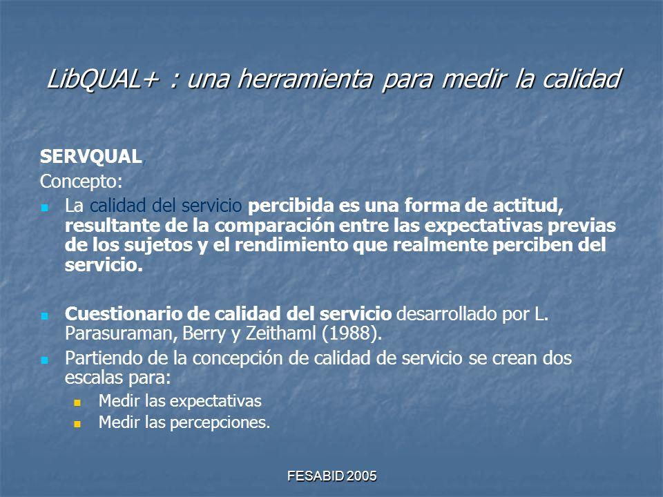 FESABID 2005 LibQUAL+ : una herramienta para medir la calidad SERVQUAL, Concepto: La calidad del servicio percibida es una forma de actitud, resultante de la comparación entre las expectativas previas de los sujetos y el rendimiento que realmente perciben del servicio.