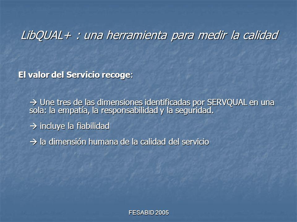 FESABID 2005 LibQUAL+ : una herramienta para medir la calidad El valor del Servicio recoge: Une tres de las dimensiones identificadas por SERVQUAL en una sola: la empatía, la responsabilidad y la seguridad.