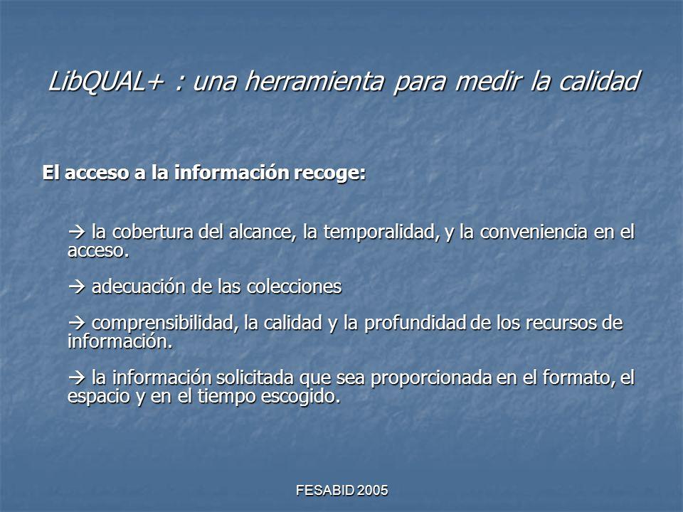 FESABID 2005 LibQUAL+ : una herramienta para medir la calidad El acceso a la información recoge: la cobertura del alcance, la temporalidad, y la conveniencia en el acceso.