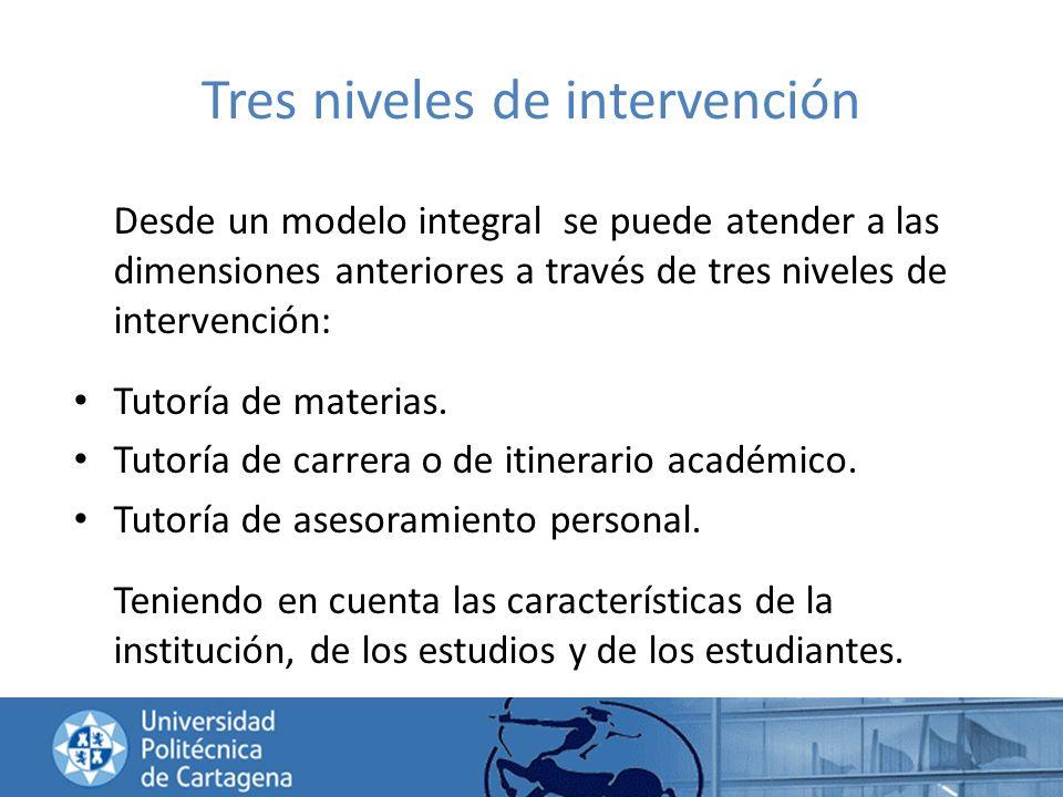 Tres niveles de intervención Desde un modelo integral se puede atender a las dimensiones anteriores a través de tres niveles de intervención: Tutoría