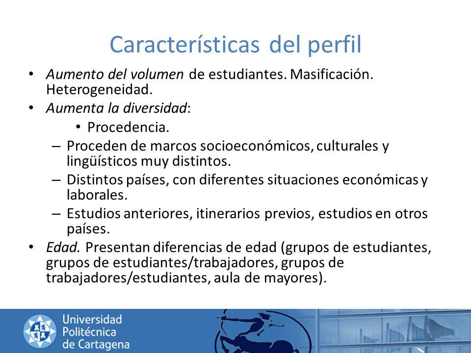 Características del perfil Aumento del volumen de estudiantes. Masificación. Heterogeneidad. Aumenta la diversidad: Procedencia. – Proceden de marcos