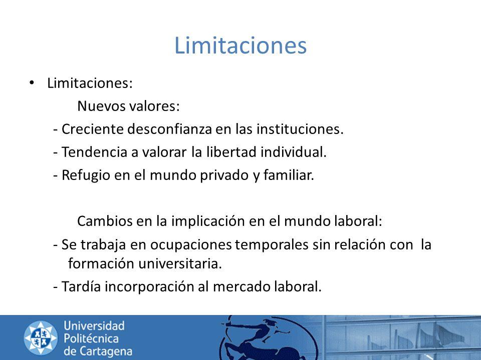 Limitaciones Limitaciones: Nuevos valores: - Creciente desconfianza en las instituciones. - Tendencia a valorar la libertad individual. - Refugio en e